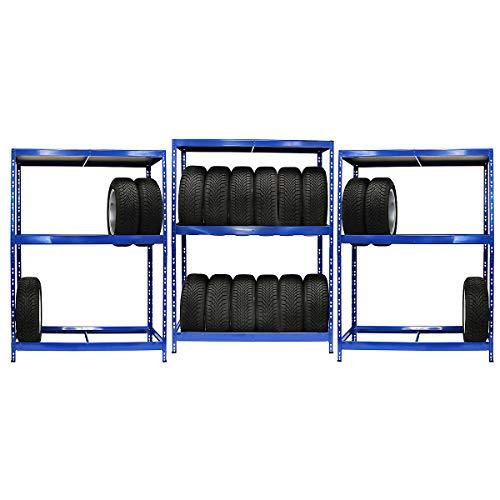 Mega Deal | Lot composé de 3 x Rayonnage pour pneus (Profondeur 50 cm) | 6 pneus par étagère | Charge max. 200 kg par étagère | Etagère métallique Etagère de cave Rayonnage de stockage Rayonnage