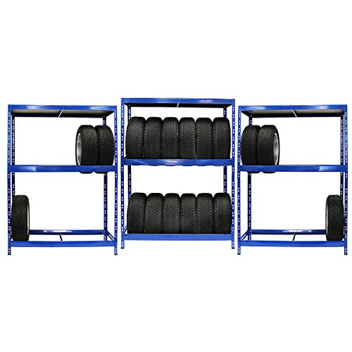 Certeo Mega Deal | Set aus 3x Reifenregal (Tiefe 50 cm) | 6 Reifen pro Ebene | Belastbar 200 kg pro Ebene | Metallregal Kellerregal Lagerregal Werkstattregal Garagenregal