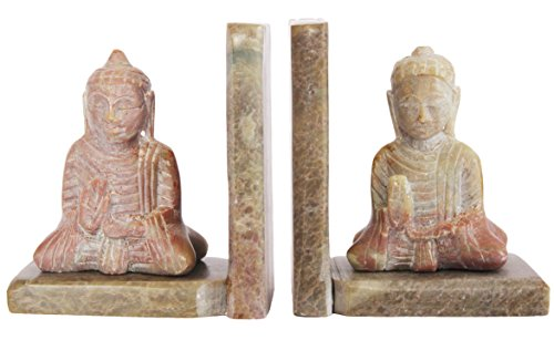 The StoreKing Intricately Hand-Carved Bookends Soapstone Decorative Buddha Bookend Home Decor Book End