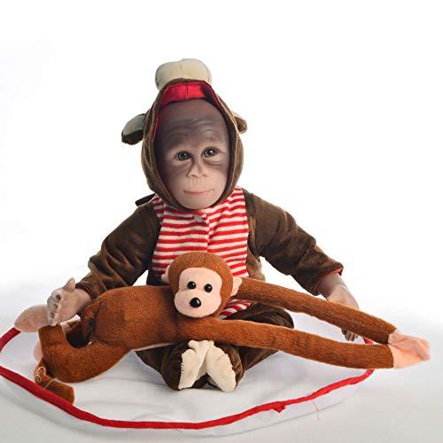 New 47CM Handmade Detailed Paint Silicone Mokey Doll Reborn Baby Monkey Newborn Doll Collectible Art
