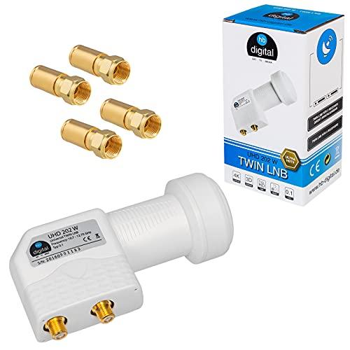 HB-DIGITAL Twin LNB LNC 2 utenti Direct  Full HD TV 3D 4K UHD Bianco Bianco  Contatti placcati in oro  Protezione dalle intemperie (estendibile)  incl. F-plug