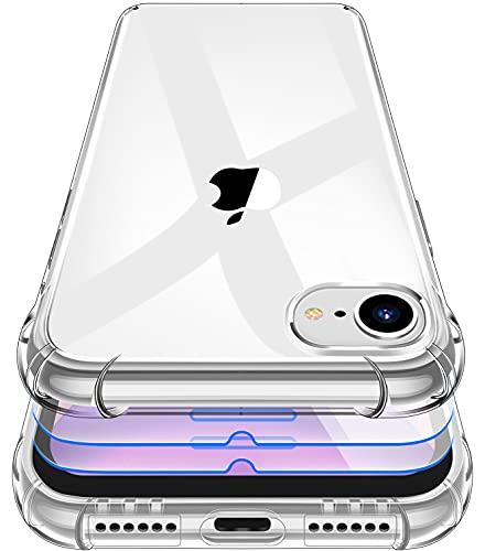 Garegce Coque iPhone SE 2020, Coque iPhone 7/8 Transparente + 3 Verre trempé Protection écran, Housse de Protection Silicone TPU, Antichoc Bumper Étuis iPhone 7/8/SE 2020- 4.7 Pouces - Transparent