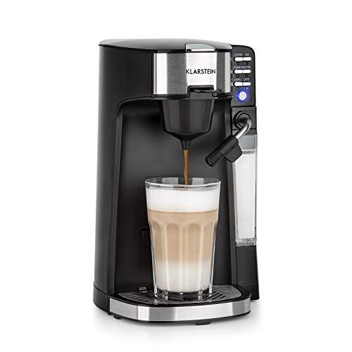 Klarstein Baristomat Heißgetränkeautomat mit integriertem Milchaufschäumer- 2-in-1 Kaffee-Maschine,1435W, 350ml Milchbehälter, zwei Brühgruppen, für Kaffee, Tee, Cappuccino & Latte Macchiato, schwarz
