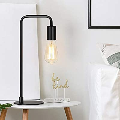 Industrial Table Lamp, Edison Desk Lamp, Small Metal Lamps for Bedside, Nightstand, Coffee Table, Dressers in Dorm Room, Bedroom, Office, Black