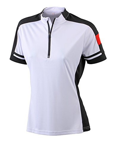 JN451 James+Nicholson Damen Bike T-Shirt Fahrradshirt 1/2-Arm, White , Gr. M