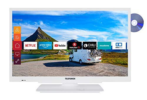 Telefunken XH24G501VD-W 61 cm (24 Zoll) Fernseher (HD-ready, Triple Tuner, Smart TV, Prime Video, DVD-Player integriert, 12 Volt)