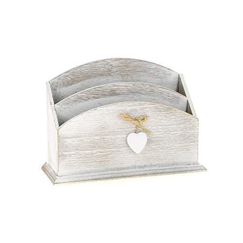 Boite à courrier,Porte Courrier en Bois Gris Clair avec Son Coeur décoratif 24 x 9 x 17 cm,Corbeille, Range Courrier