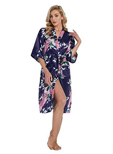 Westkun Kimono Japones Mujer Albornoz Vestido de Satén Pavo Real Novia Pijamas Largo Sexy y Elegante de Seda Bata Camisón Robe Lencería Cardigan(Azul Oscuro,XXL)