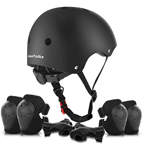 ValueTalks Kinder Helm Set Schonerset Protektoren Set Schutzausrüstung mit Helm Ellenbogenschoner Knieschoner Handgelenkschoner für Scooter Skateboard Radfahren Iliner Sport