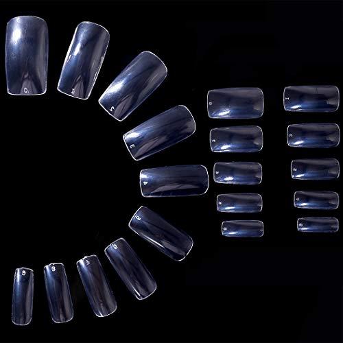 Sethexy Couverture complète Faux ongles 500Pcs 10 tailles Acrylique Conseils pour les ongles Pour Nail Art Conception (Clair)