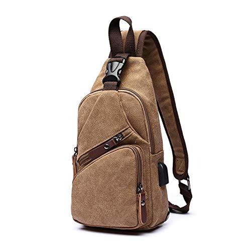 FANDARE Brusttasche Herren Schultertasche Sling Bag Rucksack mit USB Segeltuch Tasche Umhängetasche Sporttasche für Wandern,Abenteuer,Sport, Reisen und Joggen Braun
