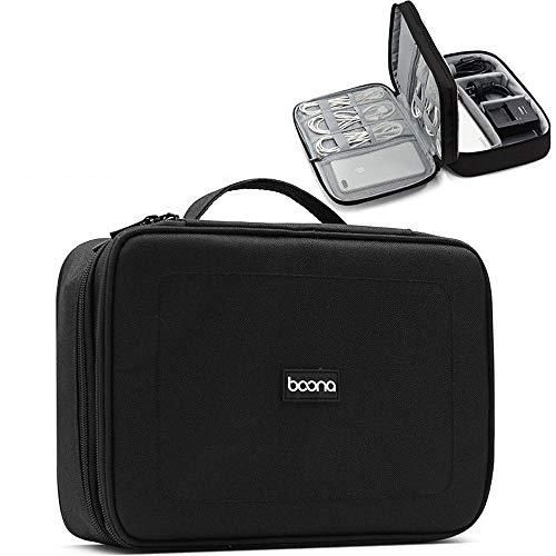 Storage bag 2 Layer tragbaren Reise-Kabel-Organisator-Beutel, for Elektronik Zubehör Speicher, Festplatten-Ladegerät, IPad Mini, Kabel, Macht, und mehr (Color : Black)