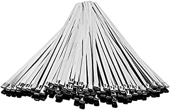 WowDIY Metal Zip Ties - Stainless Steel Cable Ties - Stainless Steel Exhaust Wrap - Heavy Duty Self-Locking Strap Ties - Perfect for Juncture, Fence, Automotive - 11.8 Inches, 30 Pcs