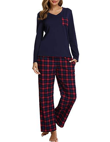 iClosam Pijama Cuadros Mujer Invierno Algodon Mangas Largas Camiseta y Pantalones Conjunto Ropa de Dormir Casa Casual Suave y Comodo Talla Grande S-XXL