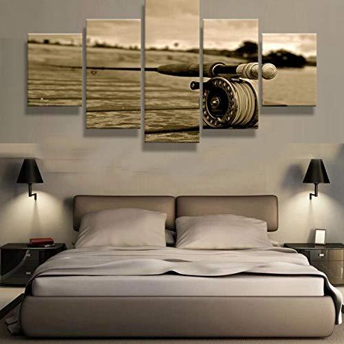 37Tdfc 5 Leinwandbilder 5 Teiliges Angeln Rute Kunstwerke Leinwandbild wandbilder Wohnzimmer modern wandbilder Schlafzimmer wanddekoration wohnungs deko wandbild XXL leinwand 150x80 cm