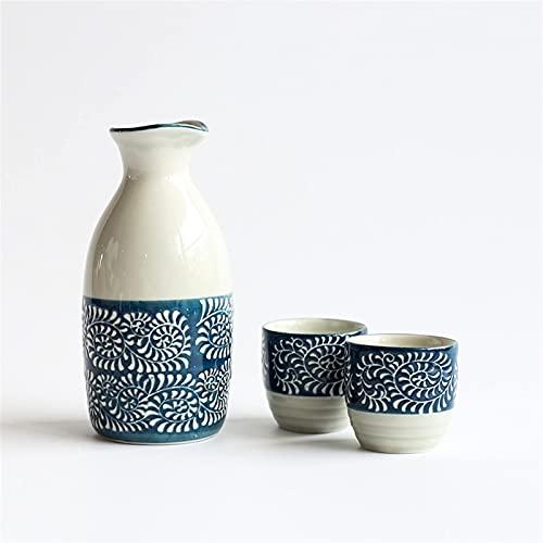 Estilo japonés Japonés Subido de vino de cerámica Conjunto de regalo de casa 1x Jarras de vino 2x Copa de vino