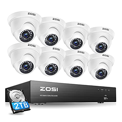 ZOSI Ultra HD 4K Home Security Camera System Outdoor Indoor, H.265+ 8 Channel CCTV DVR with 8 x 4K...