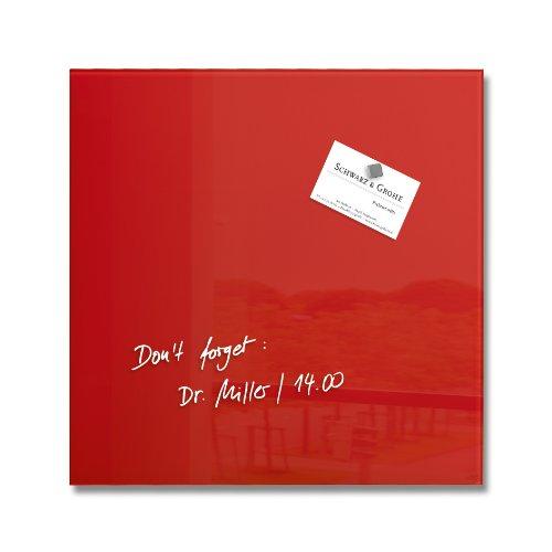 SIGEL GL159 Tableau magnétique en verre, 30 x 30 cm, rouge - Artverum