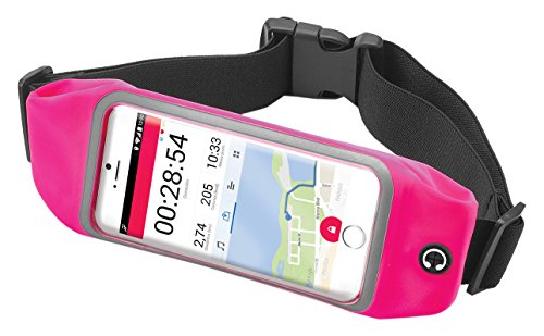 Celly Riñonera Deportiva Smartphone, Cinturón Impermeable Running para Smartphones de hasta 6,2 Pulgadas con Bolsillos, Cremallera y Correa Ajustable, Rosa