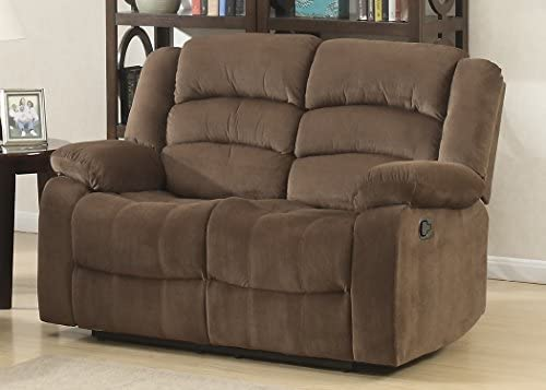 Best AC Pacific Bill Collection Modern Fabric Upholstered Living Room Reclining Loveseat with Padded Pill