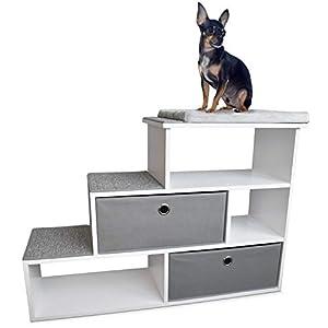 "PetFusion Pet Step Window Perch Bookshelf w/Storage Baskets | 28"" Tall Dog & Cat Perch, 8"" Stair Height | Multi-Functional Modern Pet Furniture w/Carpeted Step Pads & 1"" Thick Premium Foam Perch Pad"