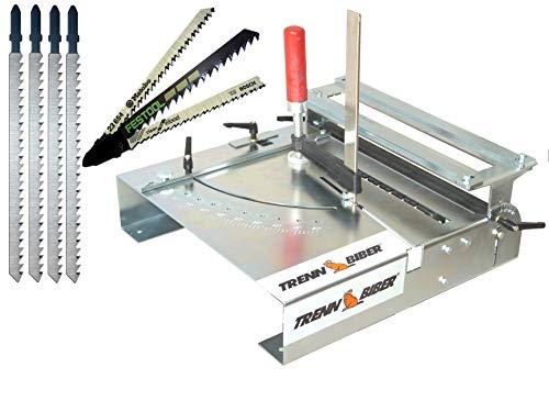 Sägetisch Trenn-Biber 012L Bundle -4 + Sägeblätter von Metabo Bosch Festool +4 lange T-Schaft Stichsägeblätter für Stichsägen - Sägetisch, zum Laminat schneiden