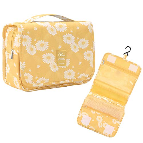 P.travel Portable Cosmetic Bag, Multiple Toiletry Kit, Travel Accessories, Bath and Shower Case Storage, Makeup Organizer for Women and Men, PT-1719 (Yellow Daisy)