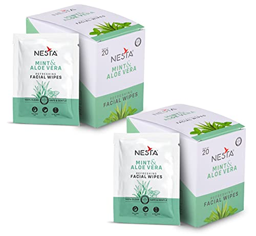 Nesta Mint and Aloe Vera | Refreshing | Facial Wipes Cleaning Original – 20 Count Per Box (40 Wipes) Pack of 2