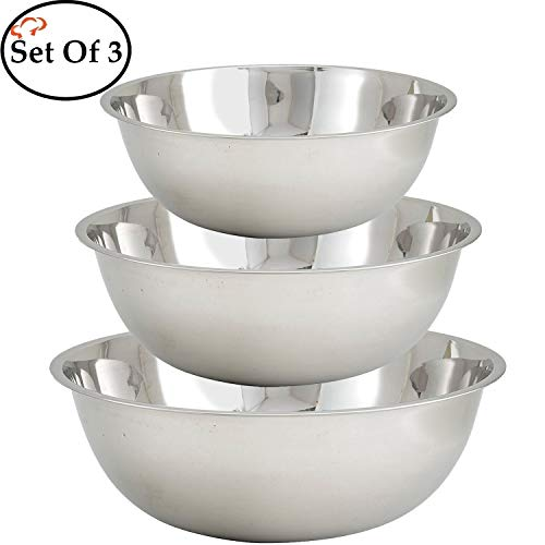 Tiger Chef Large Stainless Steel Standard Weight Mixing Bowls Set, Mirror Finish - Set Includes 13, 16, and 20 Quart. (Set of 3)