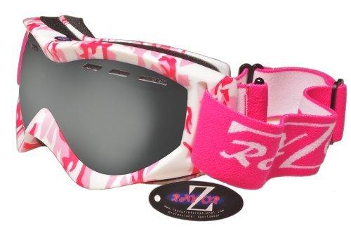 Rayzor Professionnels UV400 dubbele lensed ski-/snowboardlunettes, avec un cadre mat roze camouflage avec un anti-brouillard, ventiel fumé miroir anti-blouissement Clarity large Vision Lentille