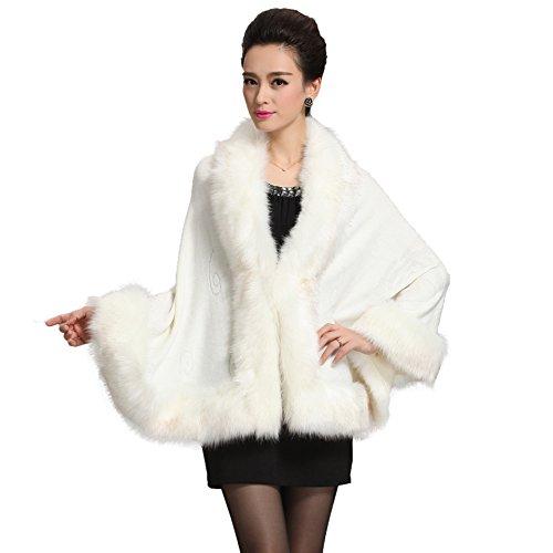Caracilia Women Bridal Faux Fur Shawl Wraps Cloak Coat Sweater White2