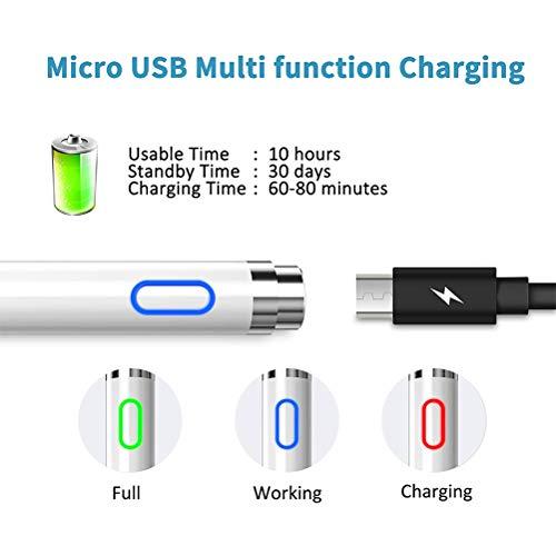 LIDIWEE Stylus Stift für Touchscreen, Wiederaufladbar 2 IN 1 Active Stylus Pen mit Radiergummi 1,5 mm Feine Spitze für iPhone, iPad, Samsung-Tablet, Smartphones and Tablets, Weiß