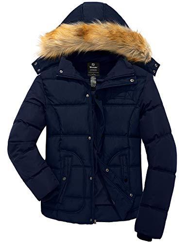 Wantdo Men Heavy Winter Puffer Coat Warm Outwear Jacket with Hood Navy Medium