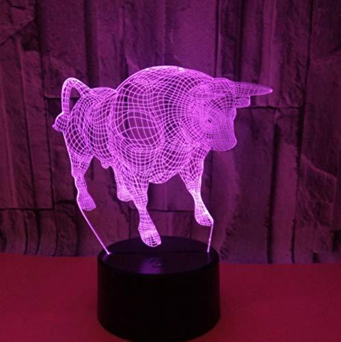 SHJDY Bull Club-Piccola nachtlampje, 3D-slaaplicht, flash led, afstandsbediening, voeding etc, geschikt voor decoratie van luiers, cadeau voor kinderen
