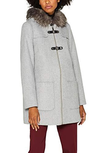 ESPRIT Collection Damen 099EO1G033 Mantel, Grau (Light Grey 5 044), Large (Herstellergröße: L)
