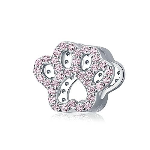LISHOU DIY S925 Sterling Silver Pink Footprints Pet Animal Footprint Charms Beaded Pandora Pulseras Collares Granos Sueltos para Mujeres Regalo De Fabricación De Joyas