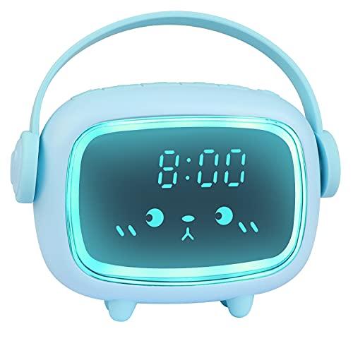 ZKIAH Despertador Digital Infantil, Relojes Despertador con Luz de Noche para Niños y Niñas, Silenciosa Cabecera Lindo Emoji Despertador Infantil (Azúl)
