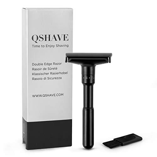 QSHAVE Adjustable Safety Classic Double Edge Razor with Matte Black Coating (1 Razor)