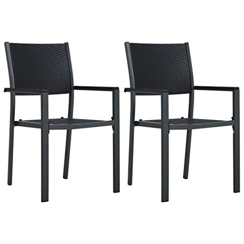 Tidyard Garden Chairs Outdoor Bench Garden Furniture 2 pcs Black Plastic Rattan Look Type C