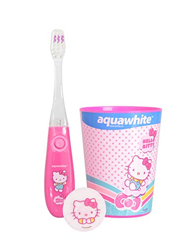 aquawhite® Hello Kitty Flash Light Kids Toothbrush with Hygiene Cap & Rinsing Cup - Set of 3, (3+years) (Dark Pink)