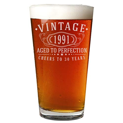 Vintage 1991 Etched Pint Beer Soda Glass - 30th Birthday Gift for Men and Women