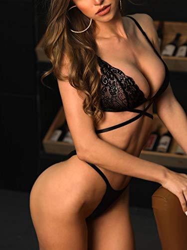 Erotische Damen-Höschen Erotische Baby Dolls & Negligees New Erotic Lingerie Ladies Three-Point Bikini Erotic Straps Bra T Pants Suit Black S