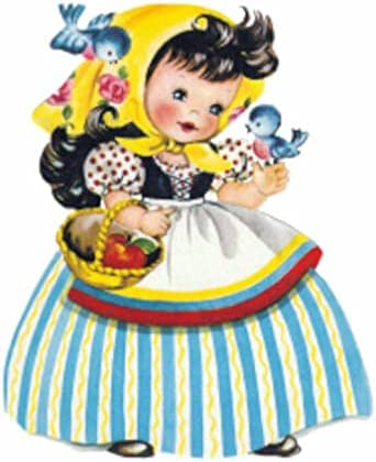 for Vintage Image Little Girl in Handkerchief and Bluebirds Waterslide Decal KID457 Tole Decals & Transfers - Image Size is A - 1 Extra Large