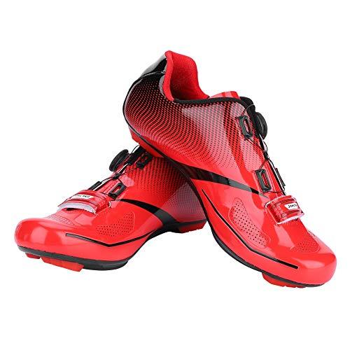 Dioche Zapatillas de Ciclismo para Hombre, Sistema de Bloqueo Antideslizante Antideslizante para Ciclismo de Carretera para Adultos, para Ciclistas(45-Rojo)