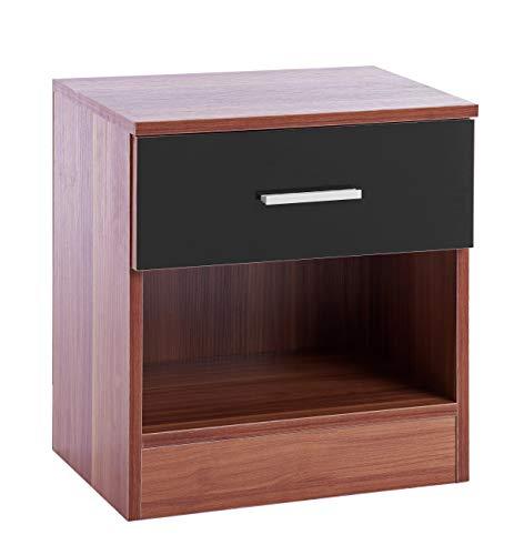 ts-ideen Nachttisch Kommode Schrank Holz Schublade Braun Schwarz Hochglanz Ablage 45 x 40 cm