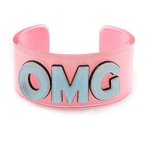 Light Pink/Lt. Blau 'OMG' Acryl Manschette Armband Armreif (Kids/Teen Größe)–16cm L