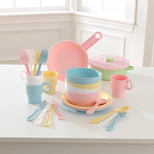 KidKraft 63027 27-teiliges Küchen-Spielset Spielzeug-Geschirrset, Pastellfarben - 5