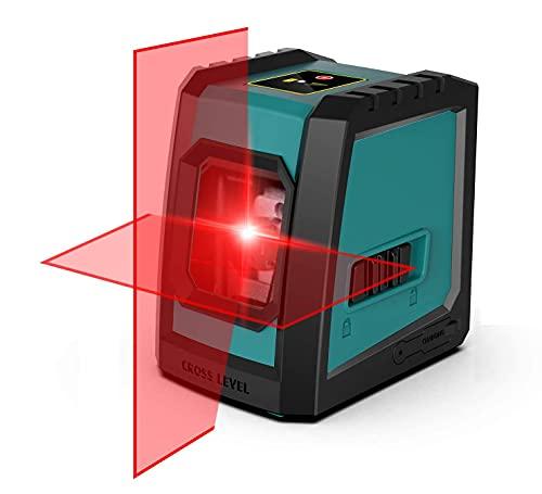 Nivel láser, Mileseey by RockSeed Cruz de Nivel Láser Cruz con 6 Puntos Magnéticos Nivel Láser Autonivelante 360 Grados Giratorio con Modo Manual / Autonivelante IP55 a Prueba de Salpicaduras