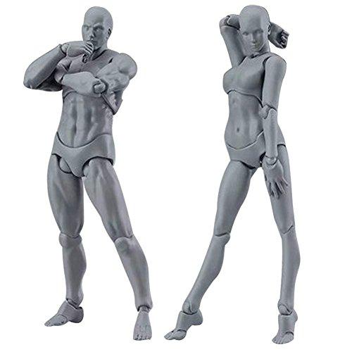 Loopunk 2 Stück/Set Action-Figur Zeichnungsmodelle Light Body Chan & Kun PVC Movebale Action-Figur Modell für SHF Version 2.0 Geschenke grau