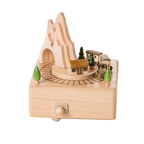 LHJCN Caja de música de Tren de Madera pequeña y túnel de montaña con Caja de música de Tren móvil pequeña